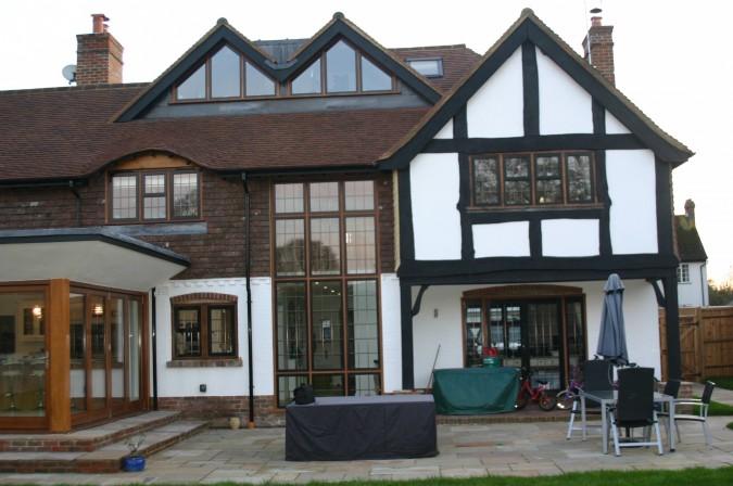 oak windows with black aluminium casements