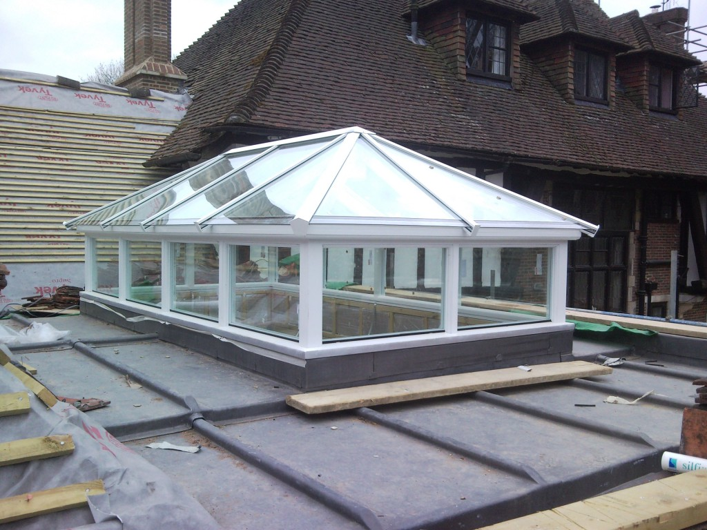 traditional roof lantern with upstands fitted
