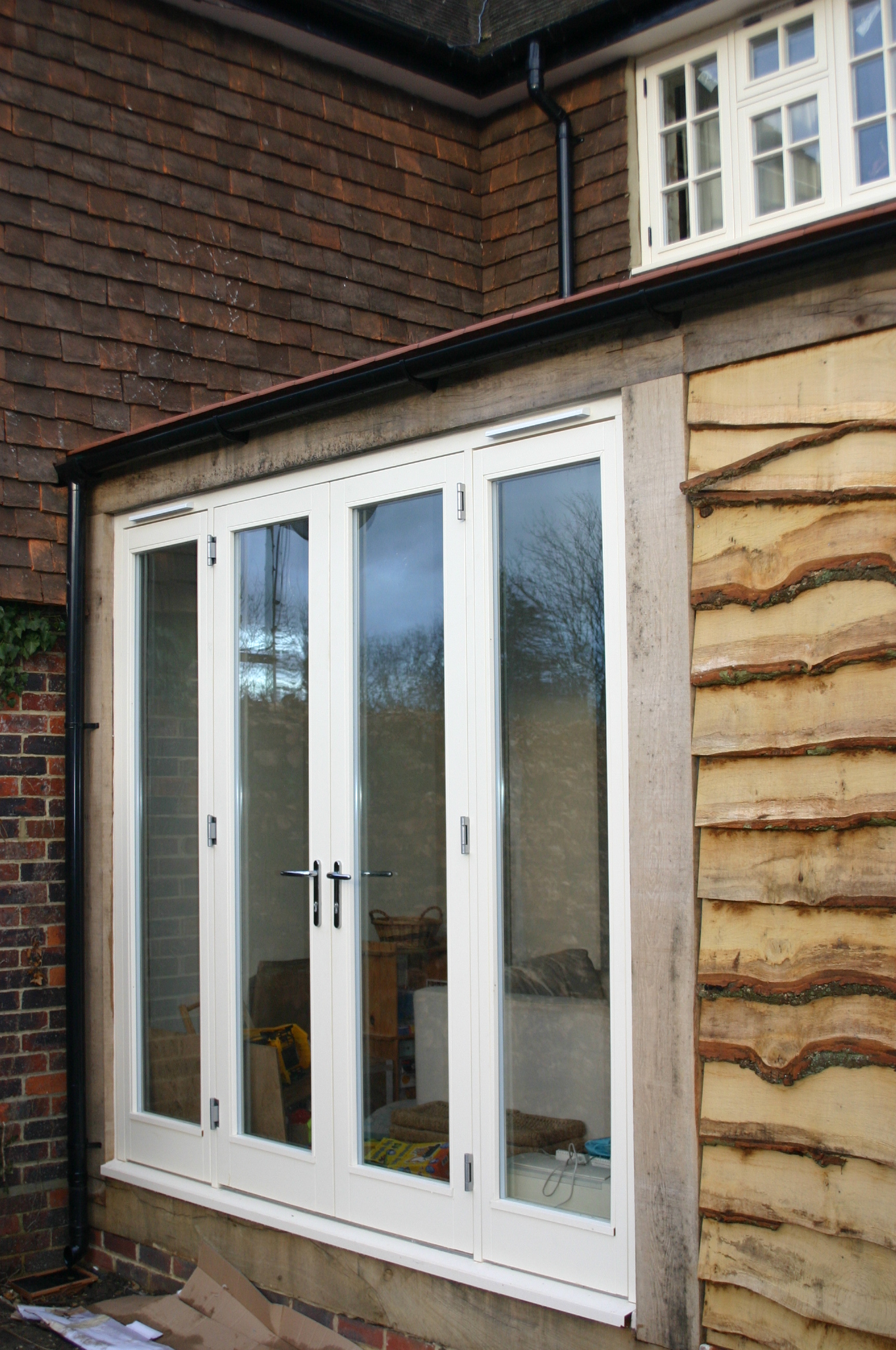 French doors in green oak extension stanbrook nicholson for Green french doors