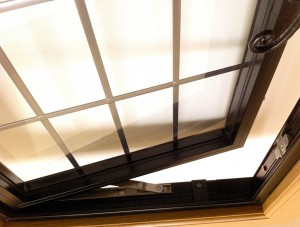 aluminium window in an oak frame